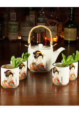 Geisha Teapot and 4 Cups
