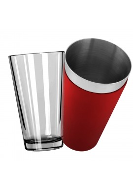 Mixing Glass with Red Vinyl Boston Shaker